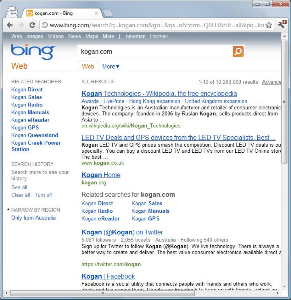 Kogan.com mysteriously disappears from Microsoft Search ...