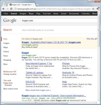Google search results for kogan.com