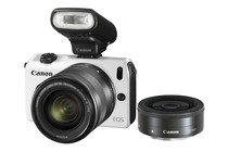  - Canon EOS M with 18-55mm, 22mm Lenses &amp; 90EX Flash (White)