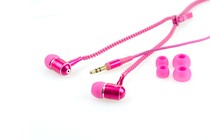 Headphones - Zipper Non-tangle Earbud Headphones (Pink)
