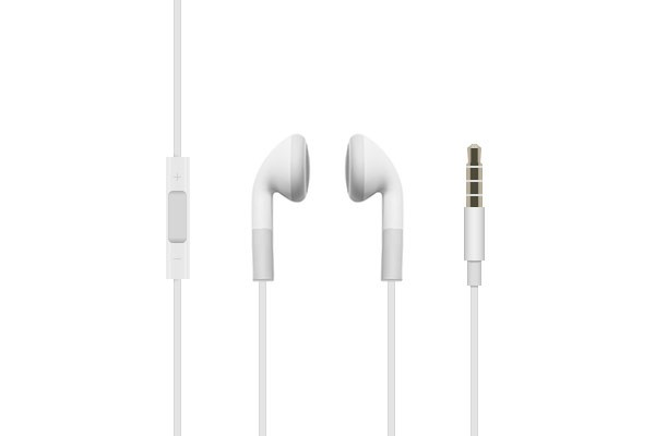 White Earbud Headphones with Inline Remote &amp; Mic