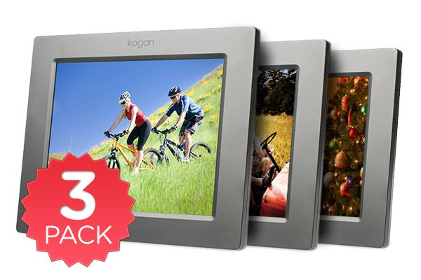 "8"" LCD Digital Photo Frame & Media Player - 3 Pack"