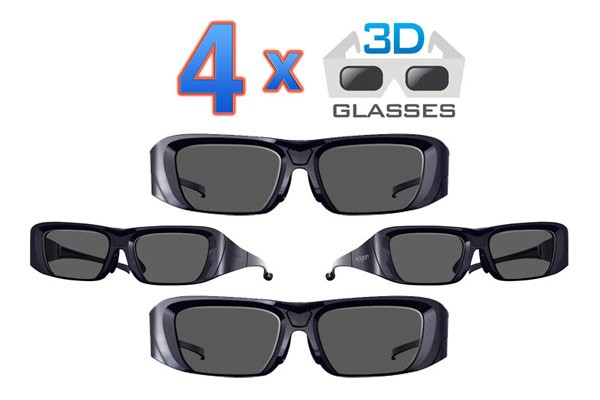 4x 3D Glasses for your Kogan 3D TV - Family Pack