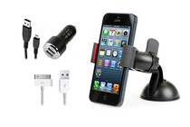 Stands, Docks, Car Mounts - Universal Phone Holder & Rapid Car Charger Kit (iPhone 5/5s)