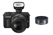 - Canon EOS M with 18-55mm, 22mm Lenses & 90EX Flash (Black)