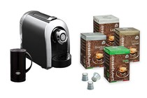 Coffee Machines - Ez-press Coffee Machine with External Milk Frother + 100 Lino's Coffee Capsules (Variety)