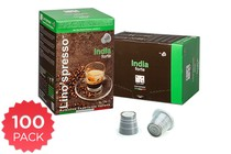 - 100 Pack Lino's Nespresso Compatible Coffee Capsules (India Forte)