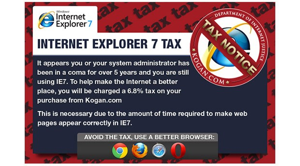 Kogan introduced new IE7 tax